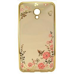 Силикон Meizu M5 gold bamper Flowers