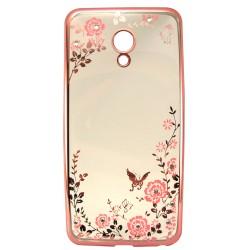 Силикон Meizu M5 pink bamper Flowers