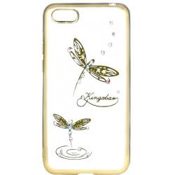Силикон Huawei Y5 (2018) gold bamper Dragonfly swarowski