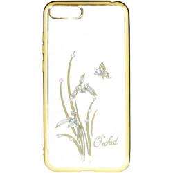 Силикон Huawei Y5 (2018) gold bamper Orchid swarowski