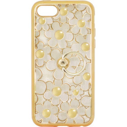 Силикон iPhone 5 gold Flowers Finger holder