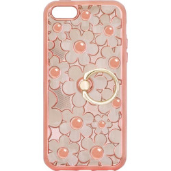 Силикон iPhone 5 pink Flowers Finger holder