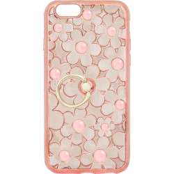 Силикон iPhone 6 pink Flowers Finger holder