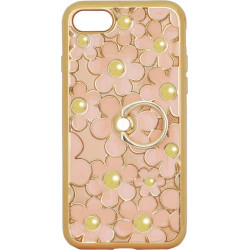 Силикон iPhone 7 peach Flowers Finger holder
