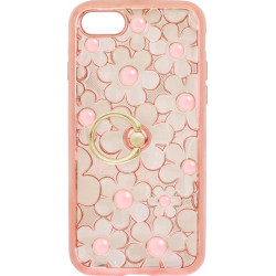 Силикон iPhone 7 pink Flowers Finger holder