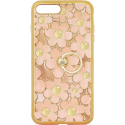 Силикон iPhone 7+ peach Flowers Finger holder