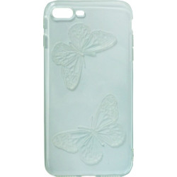 Силикон iPhone 7+ light blue Baterfly