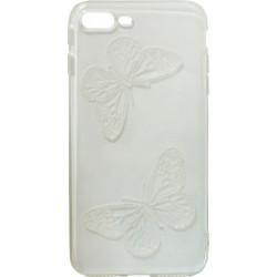 Силикон iPhone 7+ white Baterfly