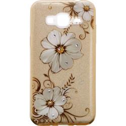 Силикон SA J3/J320 gold Glitter Flowers