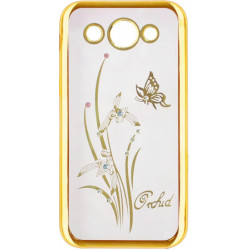 Силикон Huawei Y3 gold bamper Orchid swarowski (2017)
