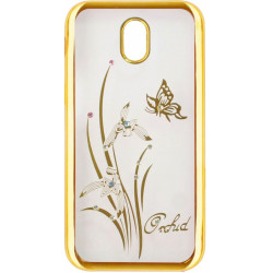 Силикон Meizu M6S gold bamper Orchid swarowski