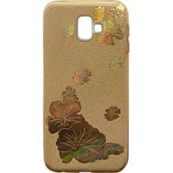 Силикон SA J610/J6+ gold Glitter Flowers 3D