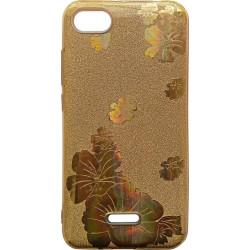 Силикон Xiaomi Redmi6A gold Glitter Flowers 3D