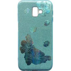 Силикон SA J610/J6+ blue Glitter Flowers 3D