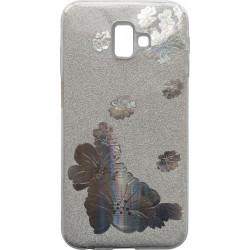 Силикон SA J610/J6+ silver Glitter Flowers 3D