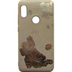 Силикон Xiaomi Redmi Note5/5Pro gold Glitter Flowers 3D