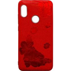 Силикон Xiaomi Redmi Note5/5Pro red Glitter Flowers 3D