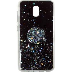 Накладка Xiaomi Redmi 8A black Shine Stars + Popsocet