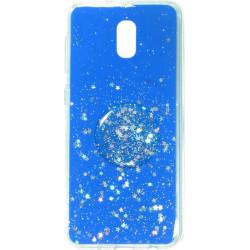 Накладка Xiaomi Redmi 8A blue Shine Stars + Popsocet