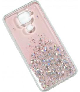 Накладка Xiaomi Redmi Note9 pink/silver Confetti