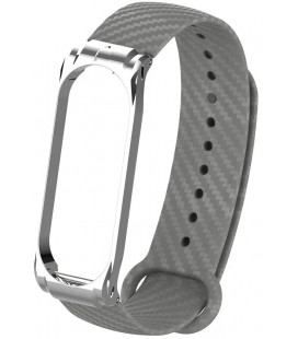 Ремешок Xiaomi Mi Band 3/4 gray metall Carbon