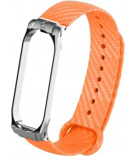Ремешок Xiaomi Mi Band 3/4 orange metall Carbon