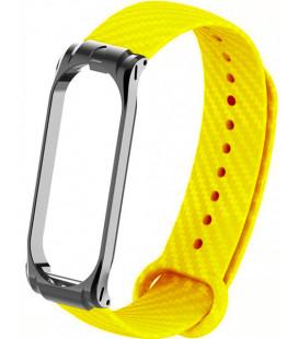 Ремешок Xiaomi Mi Band 3/4 yellow metall Carbon